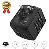 Automotive : International Travel Adapter Universal Power 4 USB Wall Charger AC Wall Outlet Plugs Converter for US, EU, UK, AU European 160 Countries (Black)