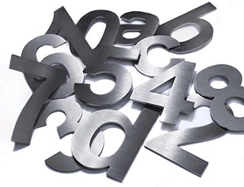 2mm b Materialst/ärke 75mm Hochwertige Edelstahl V2A HausnummerKlassisch grob geschliffen massiv /& rostfrei H/öhe