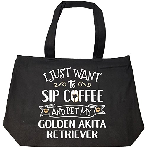 n Akita Retriever Puppy Dog Lover Gift - Tote Bag With Zip ()