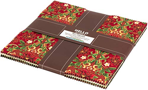 Peggy Toole Holiday Flourish 12 Holiday Ten Square 42 10-inch Squares Robert Kaufman TEN-671-42