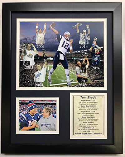 Legends Never Die NFL New England Patriots 2018 Super Bowl LIII Champions Framed Photo Collage, Tom Brady 6-Time Champ, 12