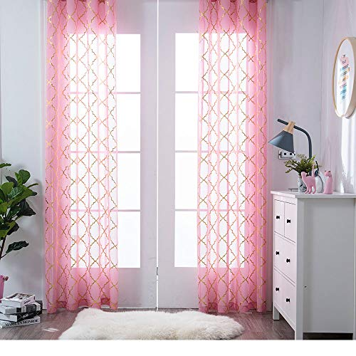 YJ YANJUN Pink and God Sheer Curtains Rod Pocket Moroccan Shiny Elegant Foil Print Voile for Girl's Living Room 2 Panel Curtain W52 x L84 Inches (Furniture Aura Design)