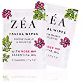 ZEA Makeup Remover Wipes   Infused with Rose Hip Essential Oil   Alcohol-Free & Paraben-Free   New & Improved   50 Individually Wrapped Wipes