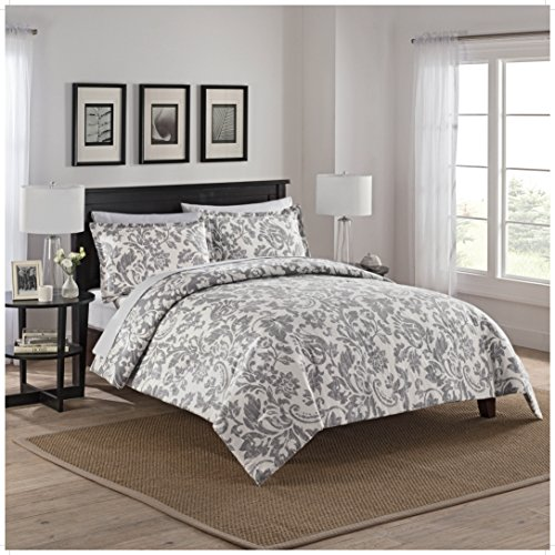 - Marble Hill 16752BEDDKNGGRY 3 Piece Tanner Reversible Comforter Set, King, Gray