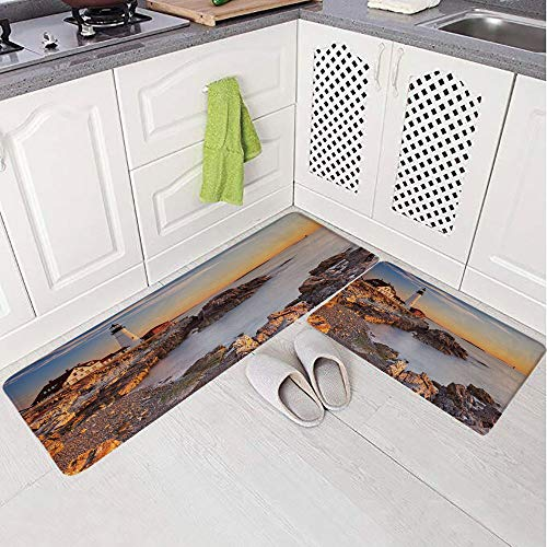 2 Piece Non-Slip Kitchen Mat Rug Set Doormat 3D Print,Maine River Portland Lighthouse Sunrise USA Coast,Bedroom Living Room Coffee Table Household Skin Care Carpet Window Mat, ()