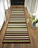 LONG MODERN TRADITIONAL STRIPED SHAGGY HALLWAY HALL RUNNER RUG IN MULTI COLOURS (60 x 220 cm (2' x 7'4'), Striped Green)