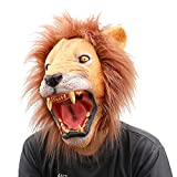 #9: Latex Animal Head Mask Halloween Party Costume Decorations - Mouth Open Lion
