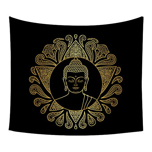 Moylor Zen Meditation Buddha Pattern Tapestry Wall Art Hanging Headboard Bedroom Dorm Living Room Decor ()