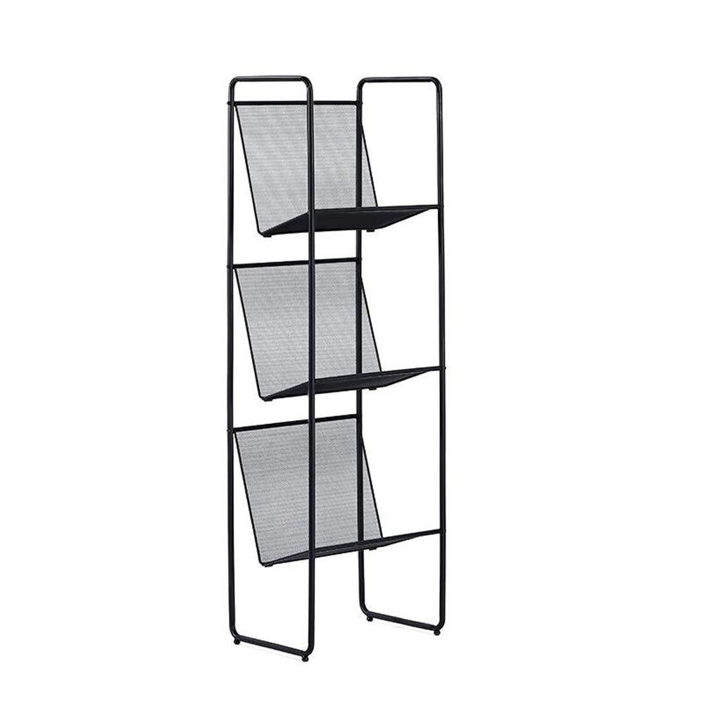 Jcnfa-Shelves Grid Hollow Bookshelf Wrought Iron Storage Rack Floor Shelf Narrow Small Bookshelf CD Rack DVD Shelf Modern Decorative Frame White (Color : Black, Size : 11.4115.1549.80in) by Jcnfa-Shelves