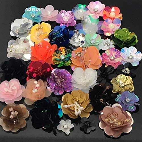 WellieSTR 40PCS 3-5CM Mixed Stlye Handmade Sequin Flower Applique 3D Paillettes Beaded Patches for DIY Clothes Shoes Hat Accessories