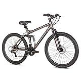 Takara Jiro Dual-Suspension Disc Brake Mountain Bike, 19-Inch/27.5-Inch, Grey