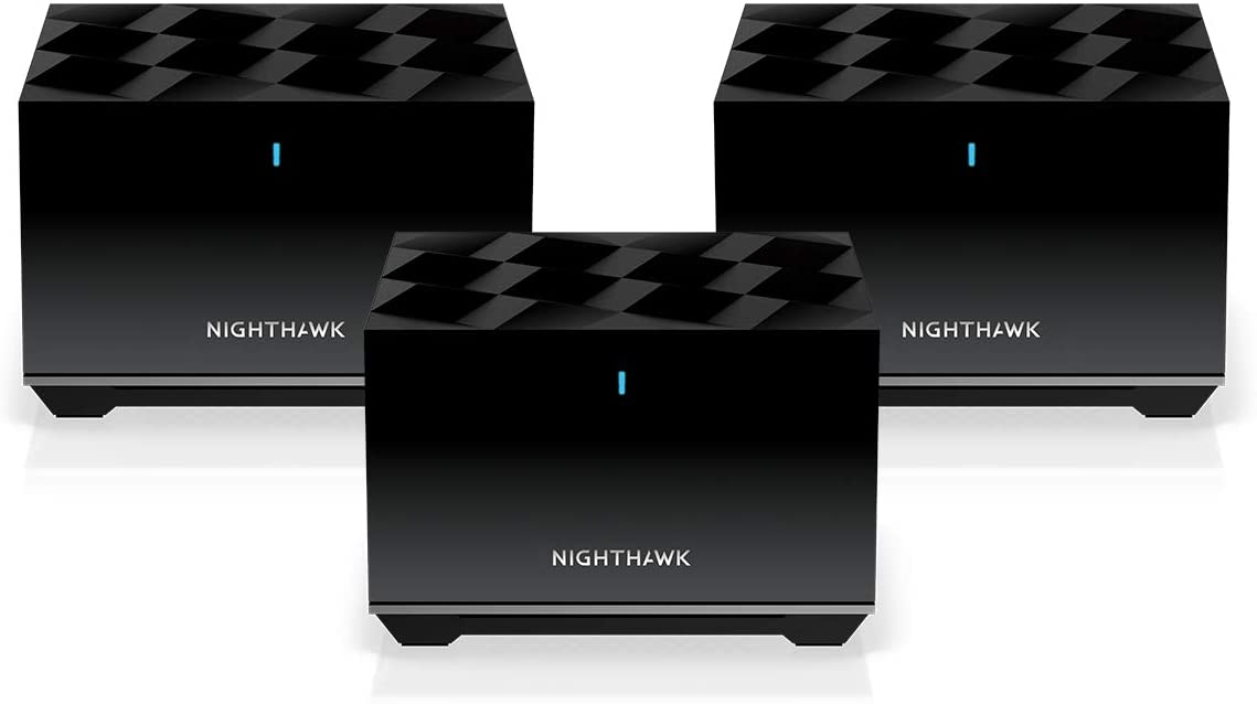 NETGEAR Nighthawk Tri-Band Whole Home Mesh WiFi 6 System (MK83) – AX3600 Router with 2 Satellite Extenders, Coverage up to 6,750 sq. ft.