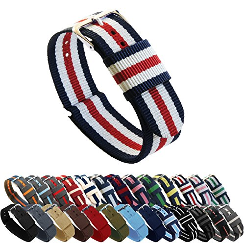 BARTON Watch Bands - Choice of Color, Length & Width (18mm, 20mm, 22mm or 24mm) - Navy/Crimson/Ivory 22mm - 'Long' Version