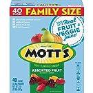 Mott's Fruit Snacks, Assorted Fruit Gluten Free Snacks, Family Size, 40 Count per pack, 32 Ounce