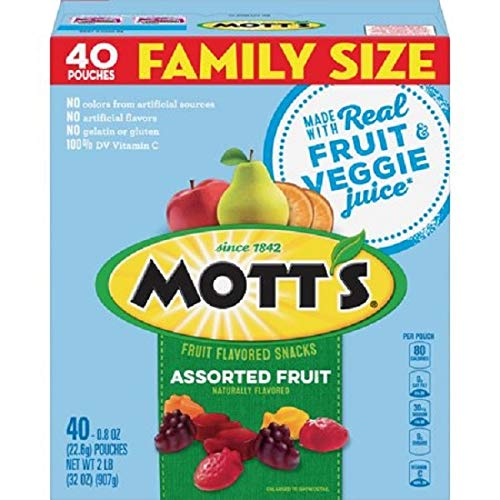 Mott's Fruit Snacks, Assorted Fruit Gluten Free Snacks, Family Size, 40 Count per pack, 32 Ounce (Things That Start With D For Preschool)