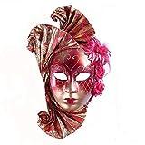 YUFENG Full Face Masquerade Venetian Mask for Elegant Female(red)