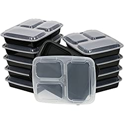A World Of Deals Meal Containers, 3 Compartment Stackable Plastic Microwavable Dishwasher Safe Reusable, 32 oz, 10 Piece