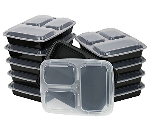 ChefLand 3-Compartment Microwave Safe Food Container with Lid/Divided Plate/Bento Box/Lunch Tray with Cover, Black, - 3 Meal Delivery Compartments Tray