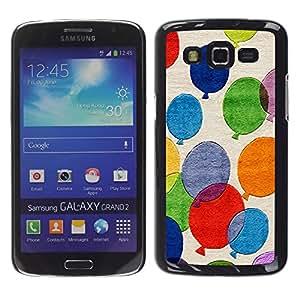 Smartphone Rígido Protección única Imagen Carcasa Funda Tapa Skin Case Para Samsung Galaxy Grand 2 SM-G7102 SM-G7105 Balloons Colorful Painting Art Fly Blue Red / STRONG