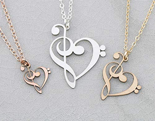 Treble Bass Clef Music Note Necklace - IBD - Band Teacher Gift Choir Piano Student -Pendant Size Options -935 Sterling Silver 14K Rose Gold Filled Charm - Fast 1 Day Production