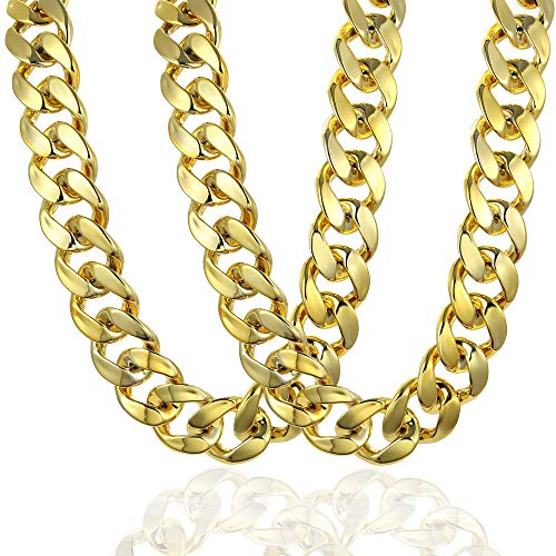 VALIJINA 2Pcs Hip Hop Gold Plated Chain Necklace for Men Women 80s 90s Rapper Costume Big Chunky Turnover Chain Necklace Punk Style Necklace -