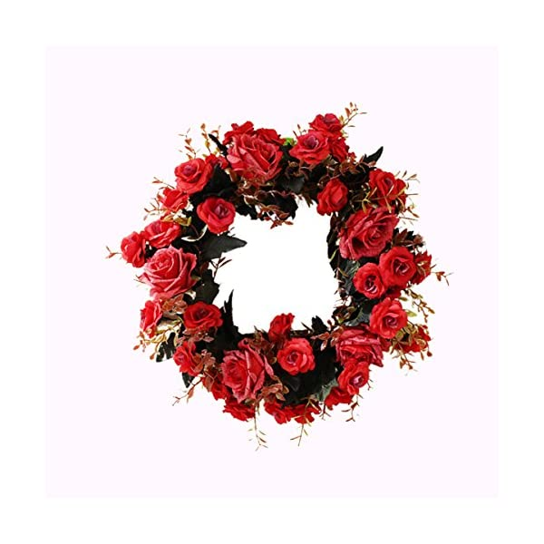 Artificial Peony Flowers Wreaths Handmade Floral Round Wreath for Front Door Home Wall Party Wedding Decoration Red 14″