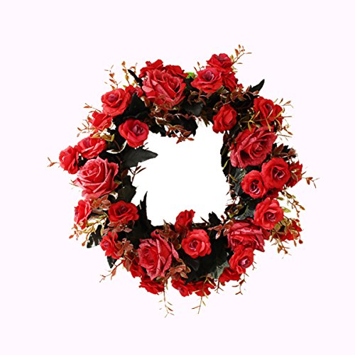 Artificial Peony Flowers Wreaths Handmade Floral Round Wreath for Front Door Home Wall Party Wedding Decoration Red 14