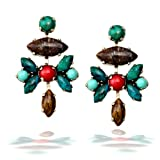 Amaro Earring with Pietersite, African Turquoise and Red Jade - EPC18SOIS