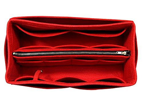 - [Fits Neverfull MM/Speedy 30, Red] Purse Insert (3mm Felt, Detachable Pouch w/Metal Zip), Felt Tote Bag Organizer