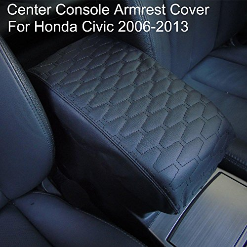 PU Leather Center Console Armrest Cover for Honda Civic 2006-2013 by Big Ant-Protects from Dirt and Damage Renews Old Damaged Consoles(Black)