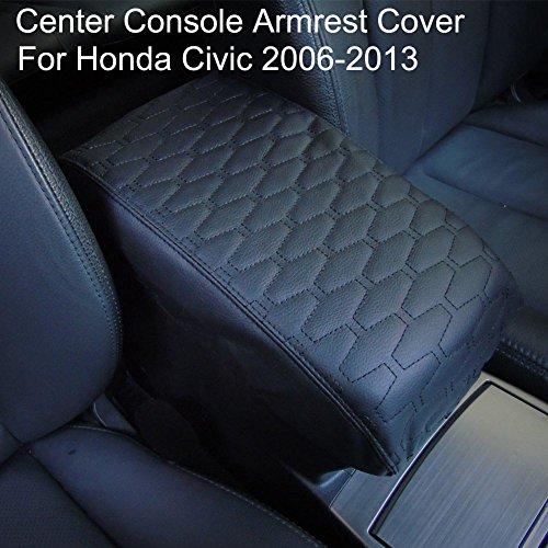 Leather Armrest Center Console Lid Cover Skin Fits Honda Civic 2006-2011 Black