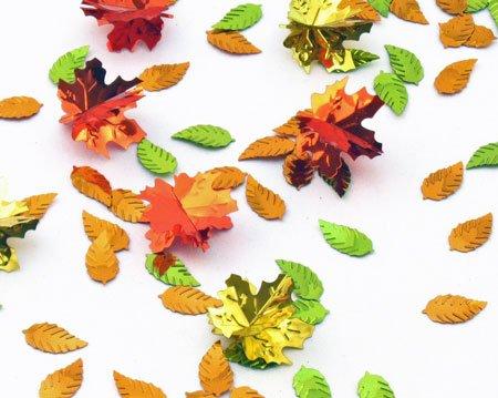 Amscan 3-D Leaves Confetti Mix (12 Piece), Multicolor