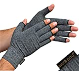 Medipaq Anti-Arthritis Gloves (Pair) - Fingerless Gloves for Arthritis Providing Warmth and Compression - Large