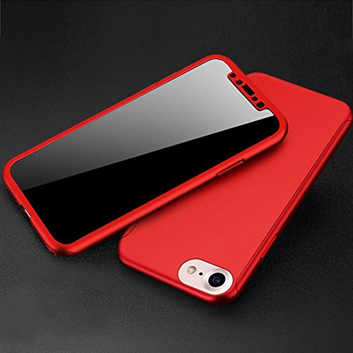 Housse Coque iPhone Housse PC en Full 8 Protection 7 Plastique 8 Etui et 8 arrière body Coque Coque avant Dur Protection Hard 7 Degrés iPhone 360 Slim Rouge Gel de Plastique pour 7 Etui Transparent iPhone AgHgavwn