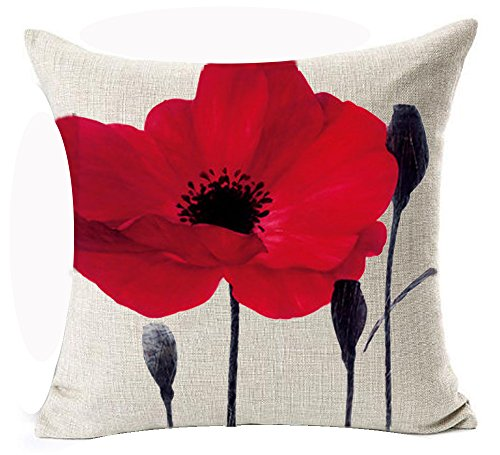 Beautiful Charming Watercolor Oil Painting Red Poppy Sweetheart Anniversary Gifts Cotton Linen Throw Pillow Case Cushion Cover New Home Office Indoor Decorative Square 18 X 18 Inches