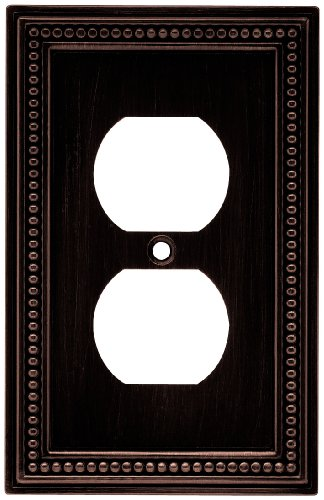 (Brainerd 64410 Beaded Single Duplex Outlet Wall Plate / Switch Plate / Cover, Venetian Bronze)