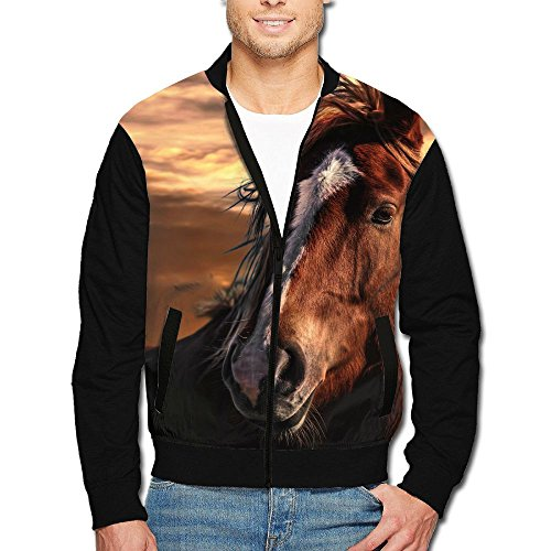 SCOOLY Sunset Brown Horse With White Stripe On Face Youth Long Sleeve Full Zip Jacket - Fat Face Sale Mens