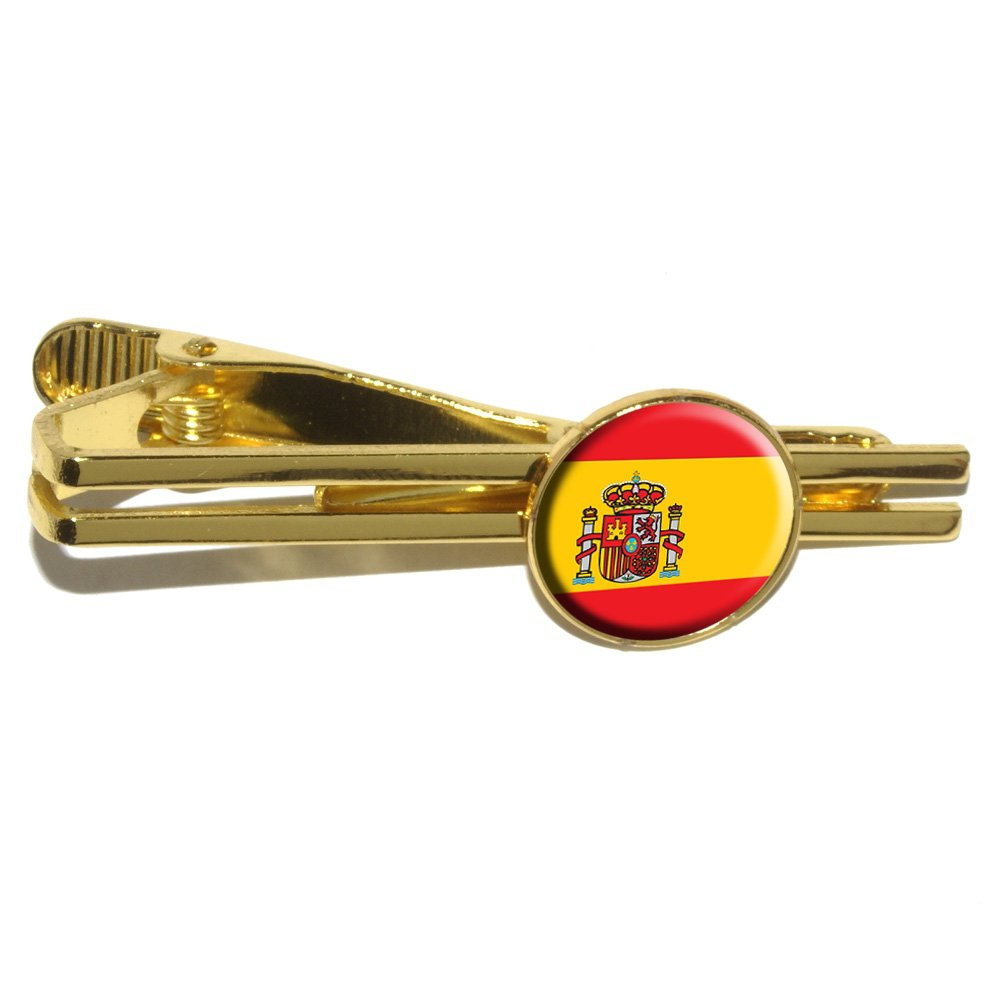 Spain Spanish Flag Round Tie Bar Clip Clasp Tack Gold