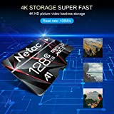 128GB Micro SD Card, Netac Memory Card MicroSD High Speed Transfer A1 C10 U3 MicroSDXC TF Card for Cemera/Phone/Nintendo-Switch/Galaxy/Drone/Dash Cam/GOPRO/Tablet/PC/Computer with Adapter