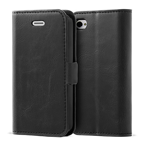 iPhone 4 / 4S Case,Mulbess Vintage Leather Wallet Case with TPU Inner Shell, Magnetized Closure, Card Slots Money Pouch and Stand Feature for Apple iPhone 4 / 4S,Black (Vintage Iphone 4s)