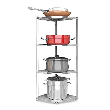 Amazon.com: Estante de cocina, estante de esquina de acero ...