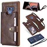 Ostop Samsung Galaxy Note 9 Back Wallet Case,Dark Brown PU Leather Silicone Bumper Shockproof Sturdy Stylish Slim Case,Card Slots Holder Stand Flip Cover with Metal Magnetic Clasp