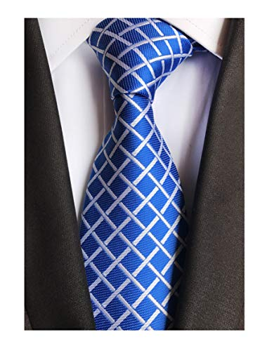 Men's Royal Blue Check White Striped Neck Ties Skinny Accessory Evening Neckties