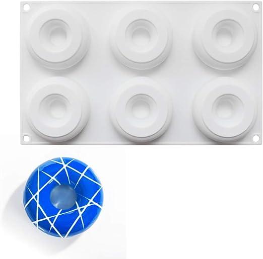 Molde de Silicona 3D, moldes de silicona para postres, 6 cavidades Forma de Donut: Amazon.es: Hogar