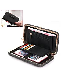 Women Clutch Wallet Purse Ladies Handbag Aeeque [Wrist Strap] PU Leather Smartphone Bowknot Pocket Multi-Card Holder Case Cover for Galaxy S8 S7 Edge J7 J3/iPhone X 8 7 6 Plus, Gifts for Her