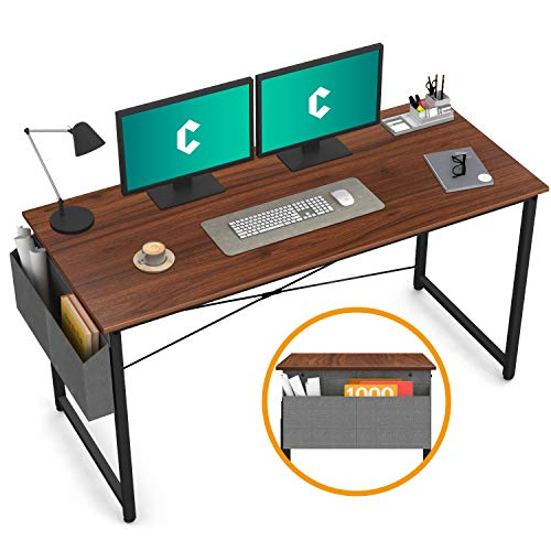"Cubiker Computer Desk 55"" Home Office Writing Study Desk, Modern Simple Style Laptop Table with Storage Bag, Espresso"