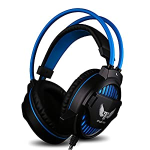 Computer Gaming Headset, Ovann Wired USB Gaming Headset for PS4, Xbox One, Computer and PC with Mic and LED Lights, Headset Splitter Cable Included, Light Weight Design