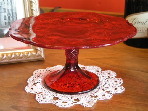 "9"" Ruby Red Glass Inverted Thistle Pattern Cake Cup Cake Plate Stand"