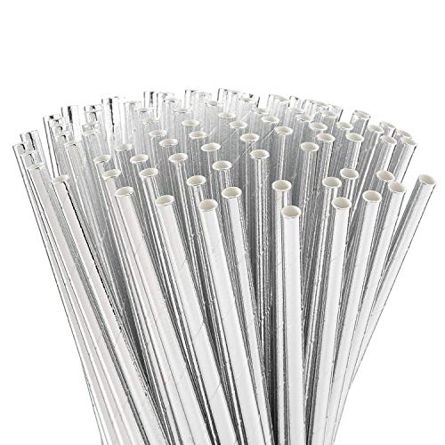 ALINK Metallic Silver Paper Straws, Biodegradable Disposable Party Drinking Straws, Pack of 100
