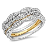 Image of 0.70 Carat (ctw) 14K White & Yellow Gold Two Tone White Diamond Wedding Stackable 3 Pcs Band (Size 6.5)